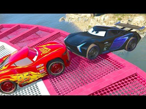 Cars 3 Lightning Mcqueen Target Jump Challenge - Jackson Storm Cruz Ramirez Paul Conrev