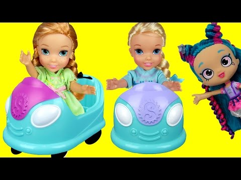 BUMPER Cars! Elsa & Anna toddlers in Shopkins World ! Some t