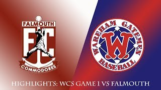 Gatemen Baseball Network Highlights: Wareham Gatemen vs. Falmouth Commodores WCS Game 1 (8/8/18)