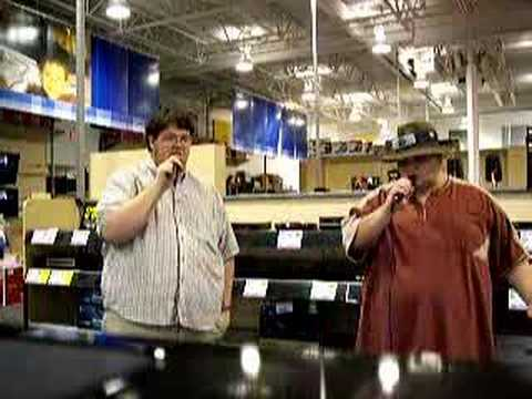 Karaoke in Best Buy.
