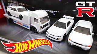スカイライン GT-R R32、R33、R34と積載車トラックがセットになったホットウィール プレミアム NISSAN ミニカーコレクション