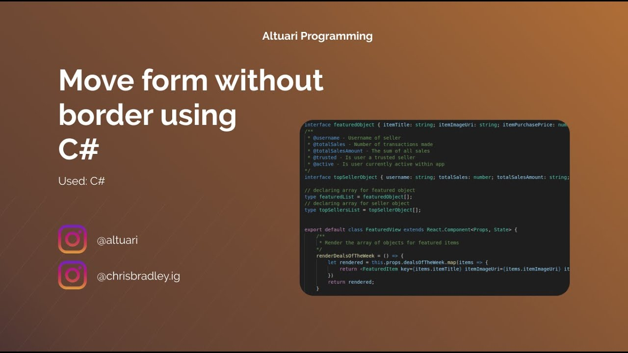 Move form without border   C#