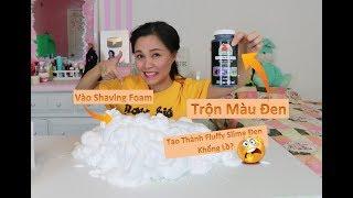 Trải Nghiệm Trộn Màu Đen Vào 3 Hủ Shaving Foam Và Keo Sữa II Fluffy Slime Màu Đen Khổng Lồ?