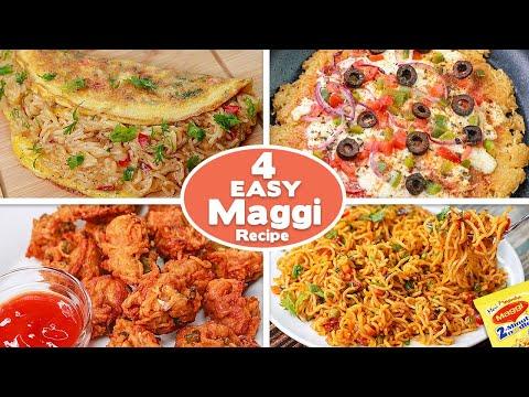 4 Easy Maggi Snacks Recipe   Maggi Omelette   Maggie Pakora   Maggi Pizza   Masala Maggi   Toasted