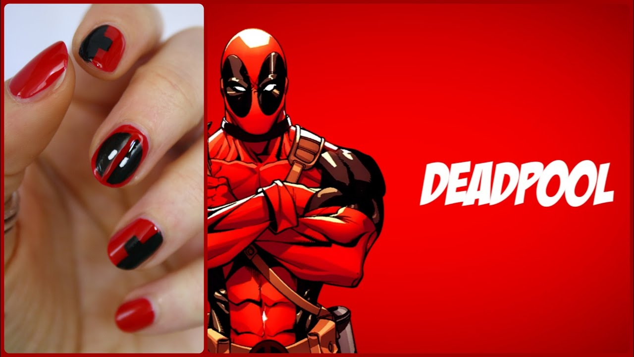 Marvel Series :. Deadpool  Tutorial nail art  YouTube