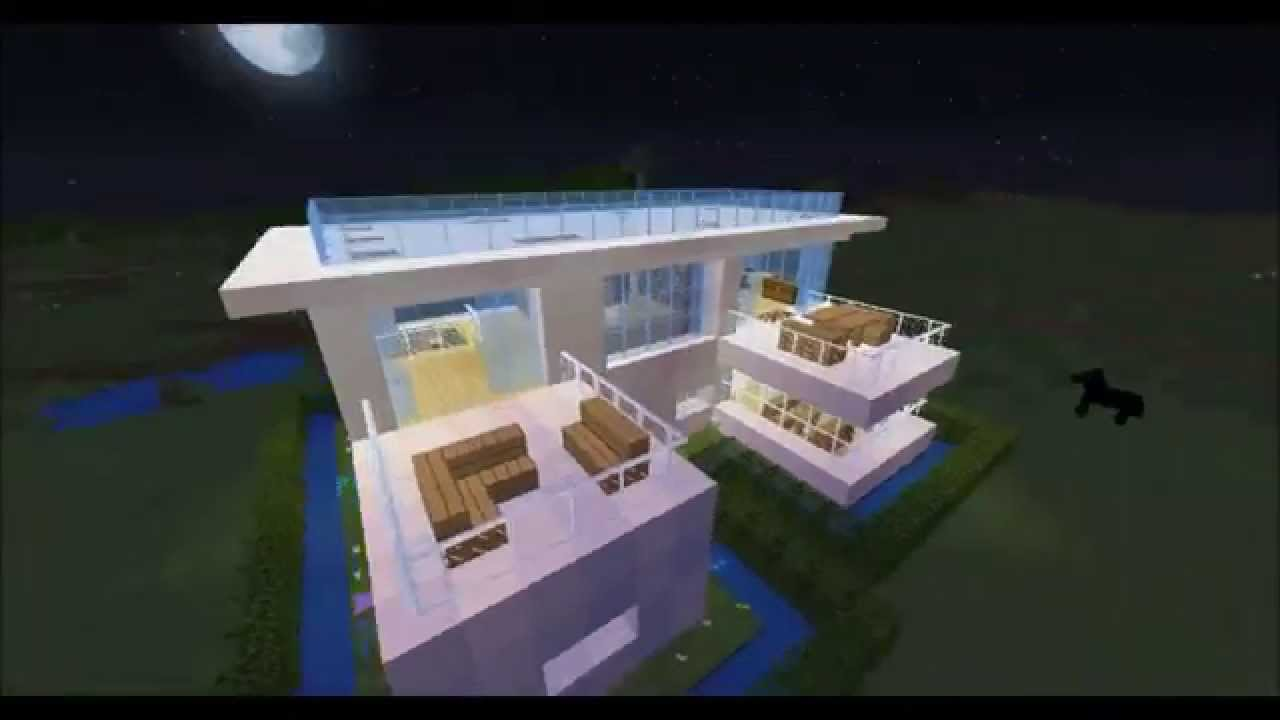 Maison moderne construction minecraft 9 youtube for Minecraft construction maison moderne