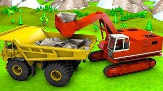 Haul dump truck and Excavator backhoe build a railroad Construction vehicles for kids