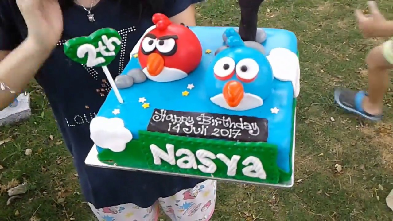 Nasya And Friend Outdoor Playground And Eating Angry Bird Theme