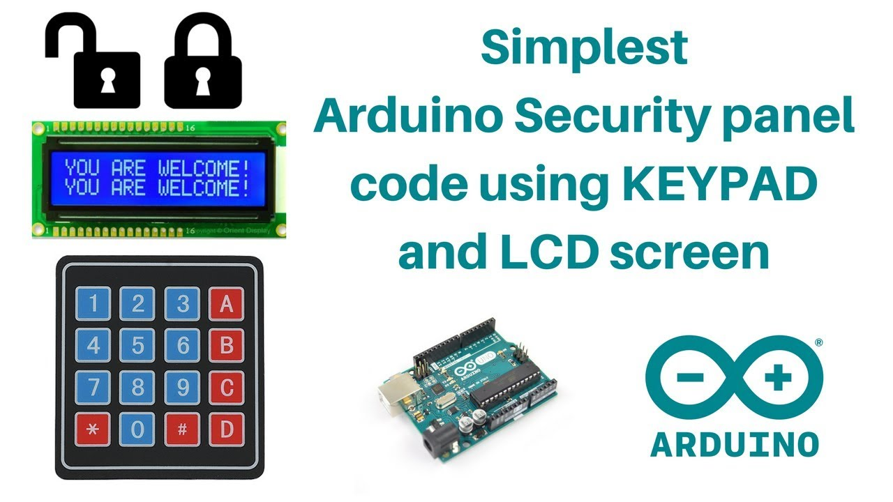 simplest arduino lock unlock code algorithm using keypad and lcd screen surtr technology [ 1280 x 720 Pixel ]