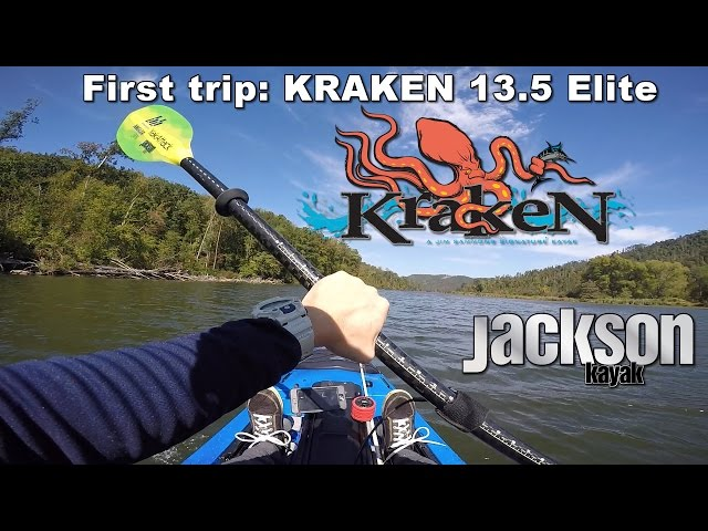 Standing + fish catch in Kraken 13.5: First outing in Jackson Kayak's newest boat.