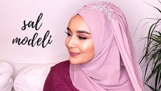 Tek parça şal ile duvaklı şal bağlama modeli Hijab style with one hijab