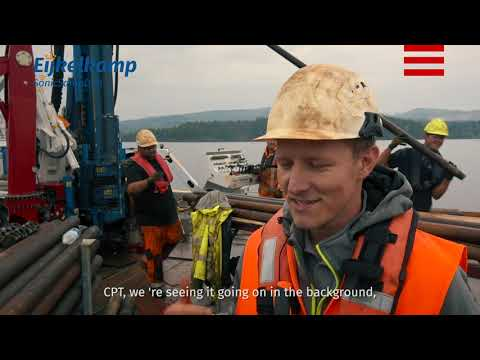 CPT testing on a barge with a sonic drill rig | SonicSampDrill