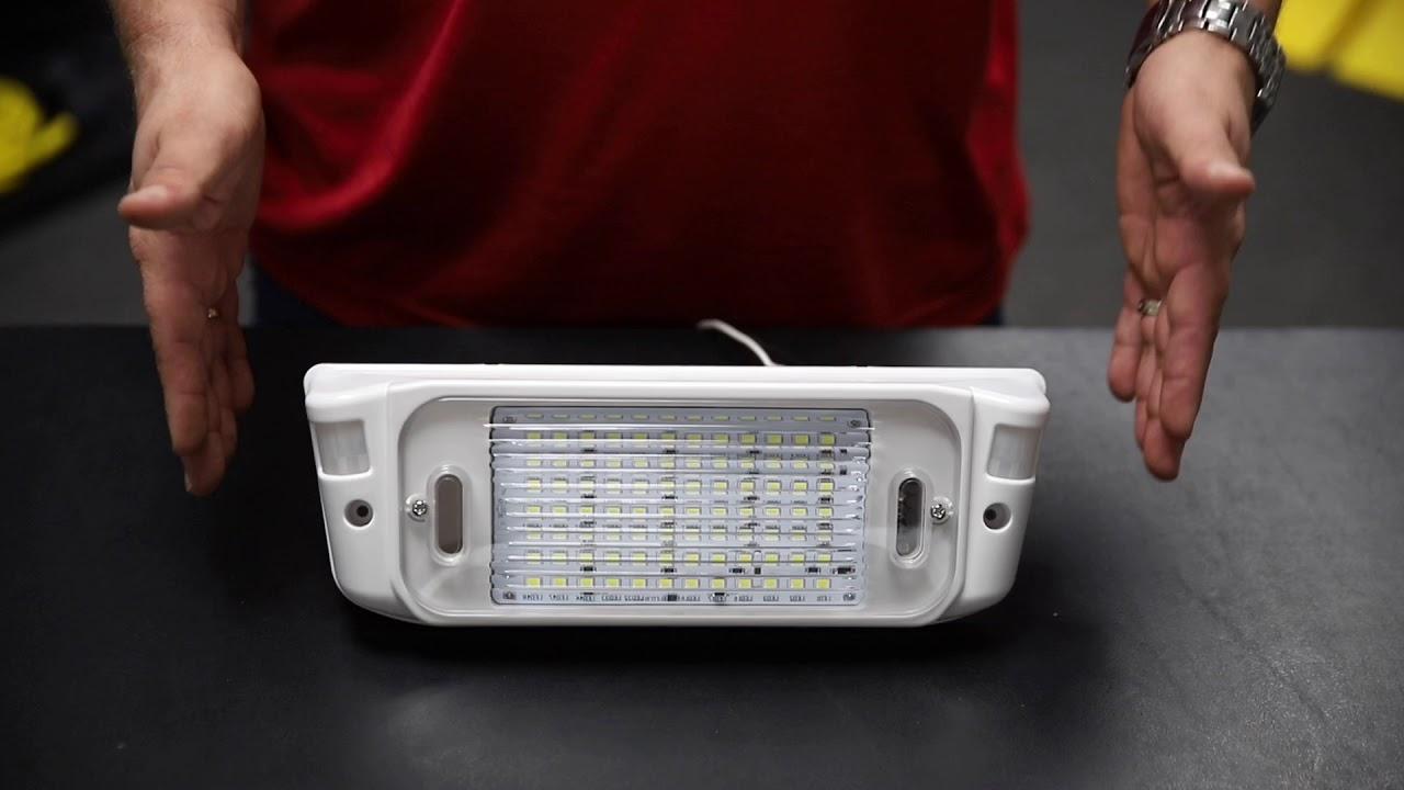 LED RV Motion Sensor Exterior Porch Utility Light White 12v Lighting Fixture Kit with LED Panel for Bright Lighting at Night Trailer