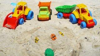 Мультфильмы про Рабочие Машины на пляже - строим песочный замок thumbnail