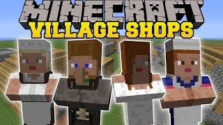 Minecraft: BETTER VILLAGE SHOPS (MORE VILLAGERS, BUILDINGS, AND MERCHANTS) Mod Showcase