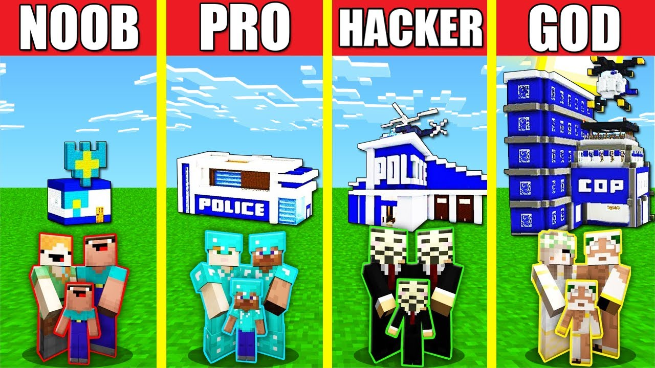 Minecraft Battle: POLICE STATION HOUSE BUILD CHALLENGE - NOOB vs PRO vs HACKER vs GOD / Animation