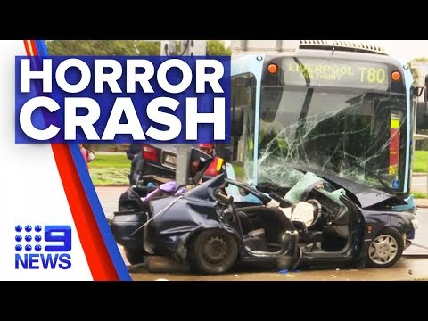 Bus And Vehicle Collision Leaves Two Injured | Nine News Australia