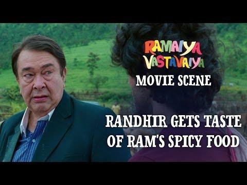Randhir gets taste of Ram's Spicy Food - Ramaiya Vastavaiya Scene - Randhir & Girish