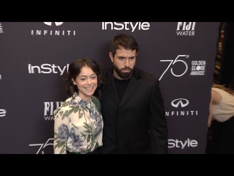 Tatiana Maslany and Tom Cullen on the red carpet in Los Angeles for the HFPA And InStyle
