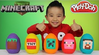 Minecraft Play Doh Surprise Eggs Opening Fun With Ckn Toys