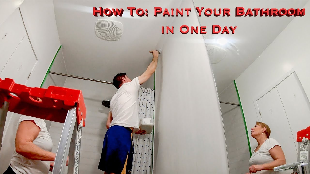 How To Paint Your Bathroom In One Day Youtube