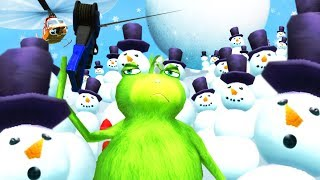 GRINCH FROG SMASHES SNOWMEN WITH A GIANT SNOWBALL - Amazing Frog Part 166 | Pungence