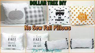 DOLLAR TREE DIY NO SEW FALL PILLOWS | FALL DECOR | BUDGET DECOR