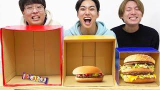 大中小の選んだ箱の中身で食べ物が決まる大食い!【マクドナルド、すき家、激辛韓国ラーメン】