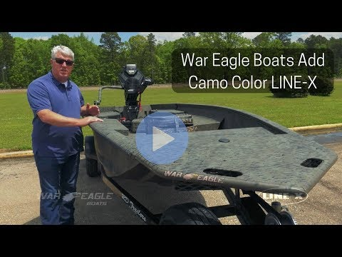 Camo LINE-X Sprayed On War Eagle Boats