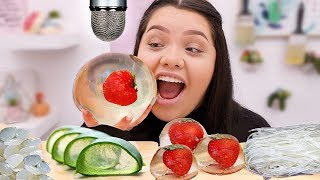I tried a bunch of new clear foods for this asmr! raindrop cakes, attap seeds, aloe vera, lychee, gummies, diakon raddish +more! watch sticky crunchy sou...
