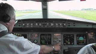 A340 Decolando de Guarulhos SBGR no cockpit