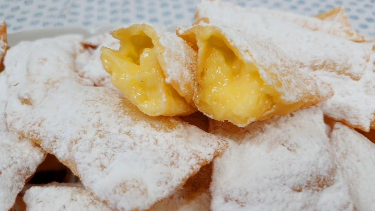 Youtube Ricetta Di Crema Pasticcera.Frappe Ripiene Di Crema Pasticcera Buonissime E Golosissime Super Delicate Pastry Cream Fritters Youtube