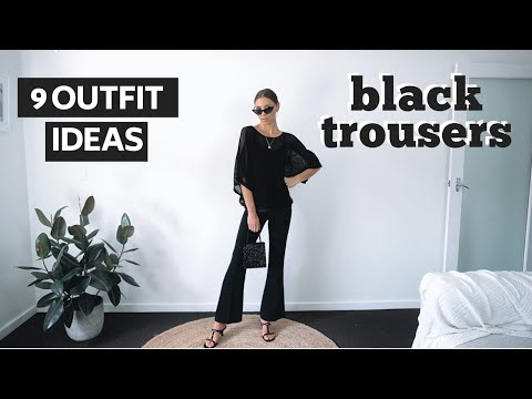 HOW TO STYLE BLACK FLARED PANTS | Black Trousers Outfit Ideas Lookbook