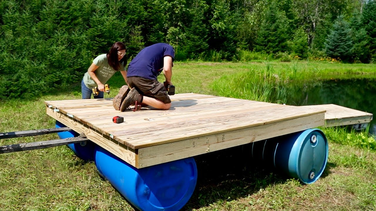 Building a DIY FLOATING DOCK at our OFF-GRID PROPERTY (PART 2) & FIXING the Road for Upcoming BUILD!