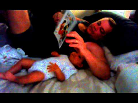 7 Months Baby Excites Read Bedtime Book.