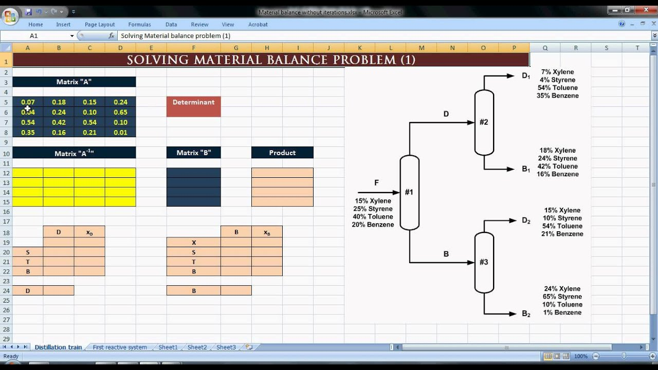 Excel For Chemical Engineers I 13 I Material Balance 2 5 Non