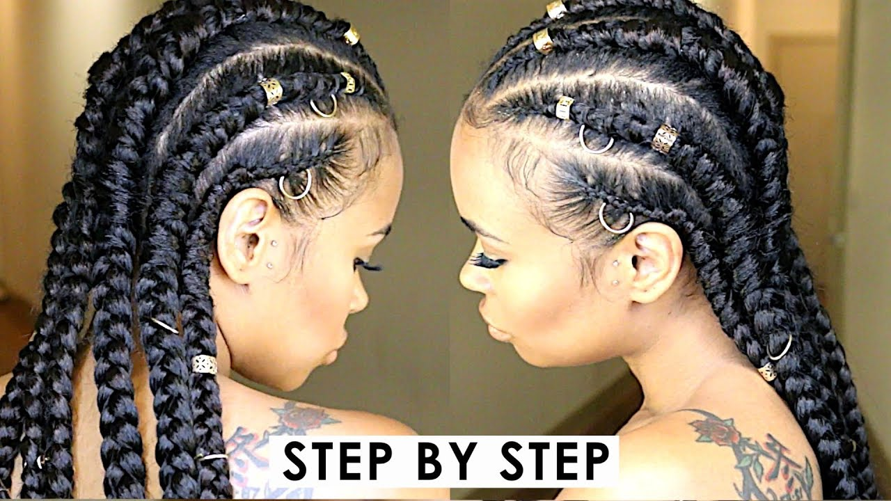 easy step by step jumbo feed-in cornrow braids! (natural hair protective style tutorial)