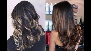 Колорирование на темные волосы средней длины