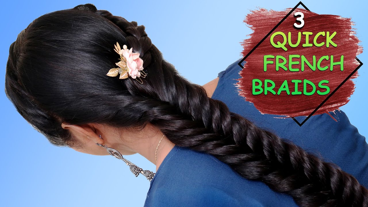 How to Do a French Braid | Simple Side French Braid Hair Style | 3 Quick Hairstyles for Girls