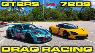 RACE GAS REMATCH * 830HP Porsche GT2RS vs McLaren 720S Drag Racing 1/4 Mile at Fuel Run