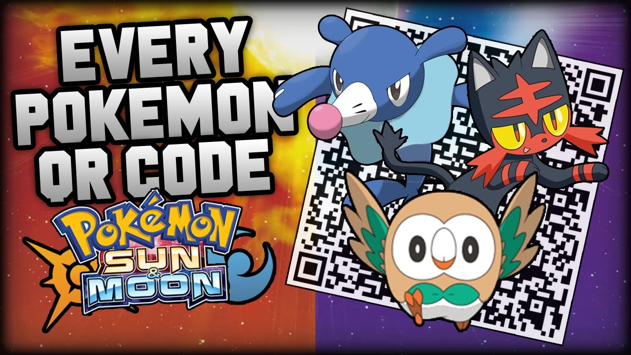 Qr codes for pokemon sun and moon for all t
