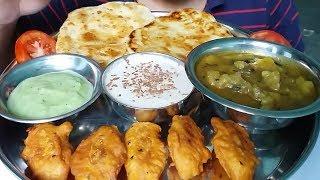 chocolate kheer and paratha eating with egg pakora and potato dum