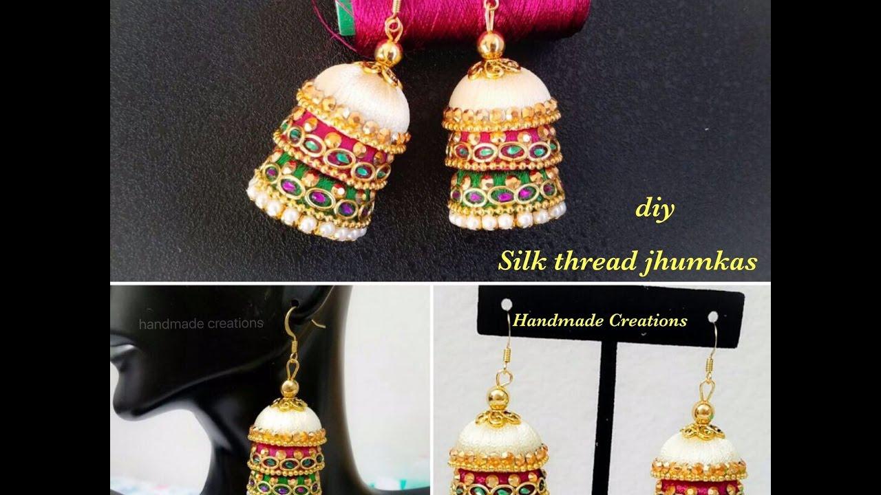 8f3d1ac72 DIY Silk Thread Earrings ||Designer Silk Thread Jhumkas||Silk Thread  Earrings(Tutorial)