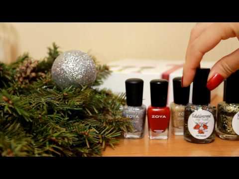 Бежевый маникюр и узор блестками - beige glitter nail art tutorial