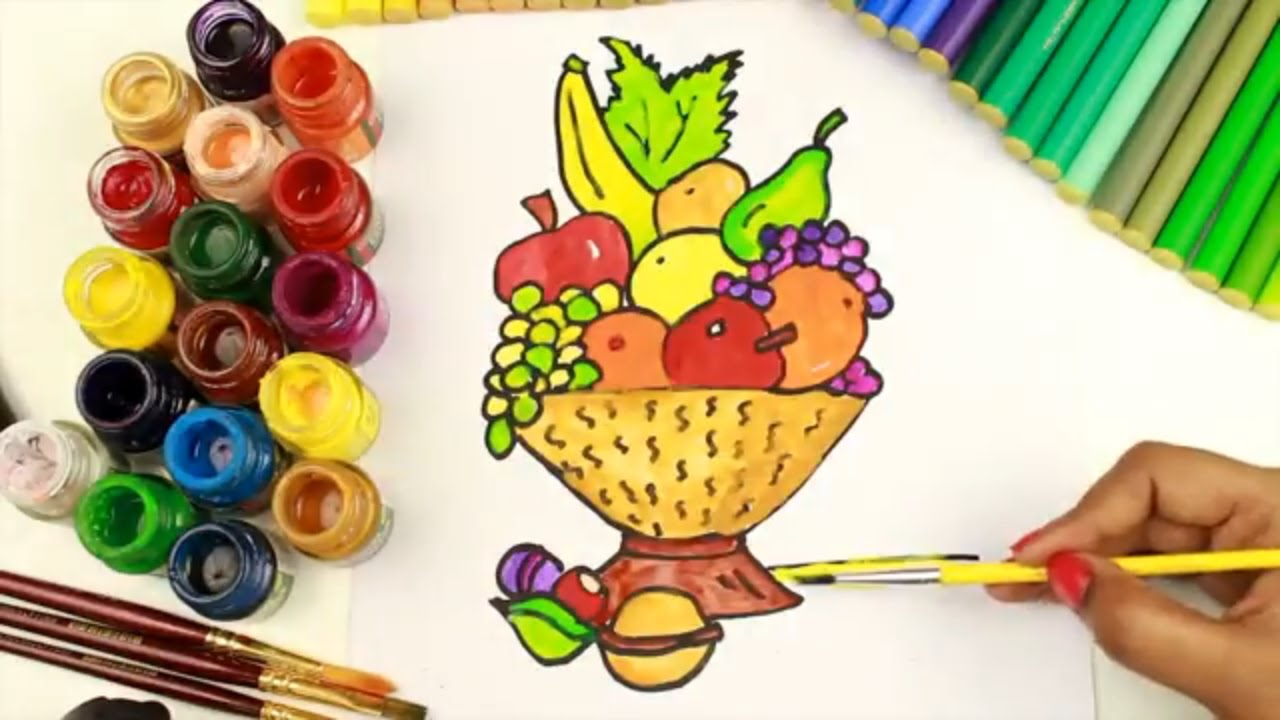 Fruit bowl coloring pictures - How To Draw And Coloring Fruit Basket Coloring Pages For Girls How To Draw Fruit Basket Step By Step