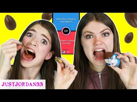 REAL FOOD Vs CHOCOLATE EGG ROULETTE Would You Rather Challenge! / JustJordan33
