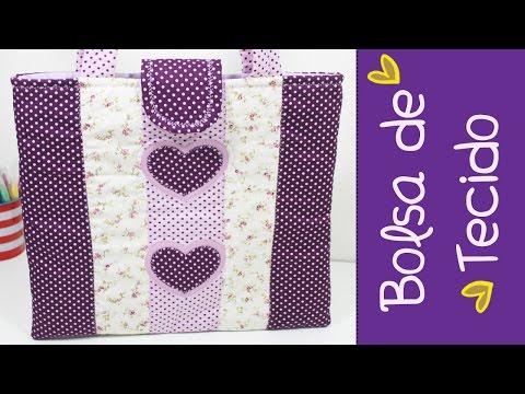 Bolsa de Tecido Basica -  Patchwork -  Como Fazer - ( Parte 1) - Segredos de Aline