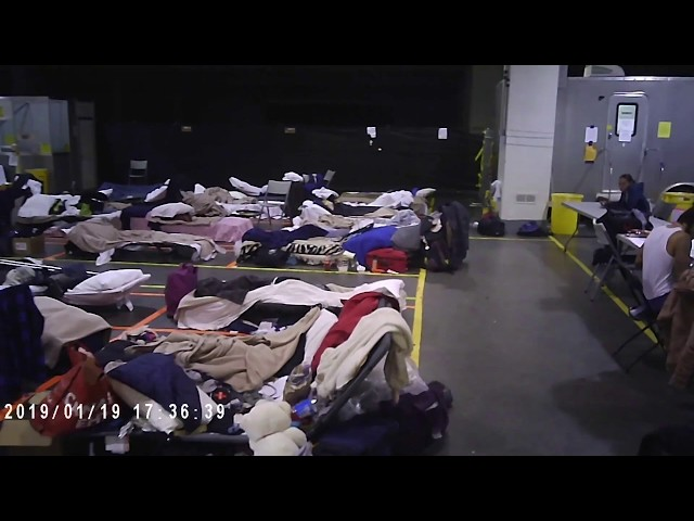 A video taken from inside the city's respite centres and shelters shows conditions in which homeless people are living on a particularly cold evening in January 2019. This clip has been shortened from the original 6-minute version.