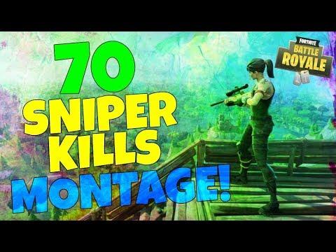 Fortnite Battle Royale 70 Sniper Kills! Epic Montage!