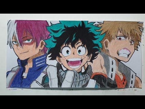 Drawing Izuku, Katsuki and Shoto from My Hero Academia